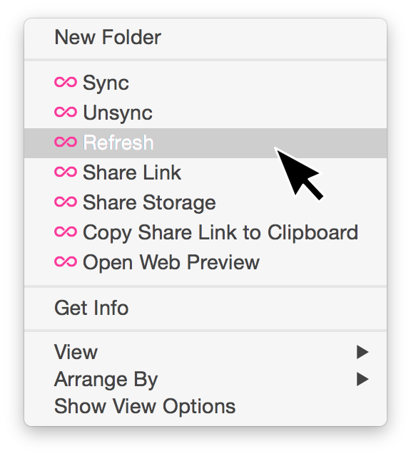 Right-click within a folder to refresh your sync view