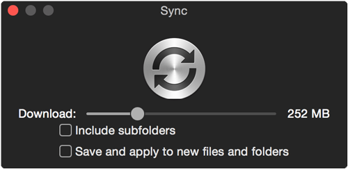 Right-click to sync folder, do not drill down into subfolders