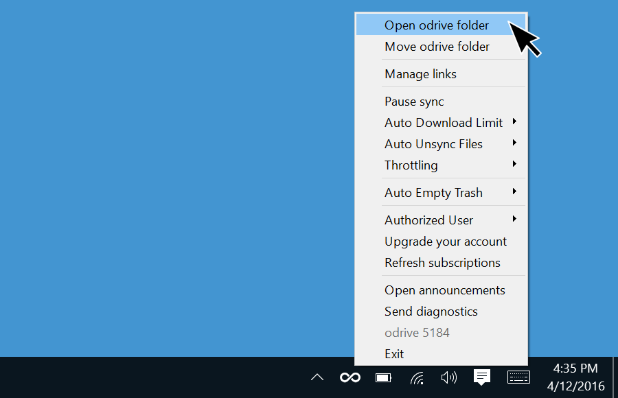 odrive Windows tray is located in the bottom right task bar
